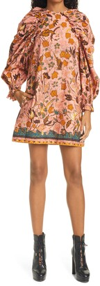 Ulla Johnson Devya Floral Long Balloon Sleeve Shift Dress