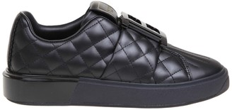 Balmain Sneakers In Black Quilted Leather