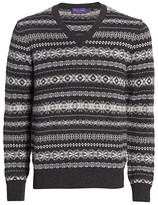 Ralph Lauren Purple Label Fairisle Pattern Cashmere Knit Sweater
