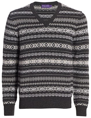 Ralph Lauren Purple Label Fairisle Pattern Cashmere Knit Sweater