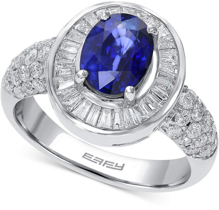 Effy Royale Blue by Sapphire (1-3/8 ct. t.w.) and Diamond (9/10 ct. t.w.) Ring in 14k White Gold