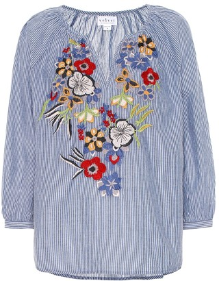 Velvet Melia embroidered cotton blouse