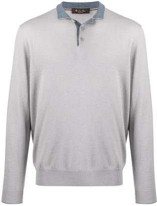 Loro Piana contrast long-sleeved knit top