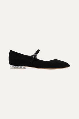 Sophia Webster Toni Crystal And Faux Pearl-embellished Suede Mary Jane Ballet Flats - Black