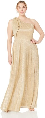 Dress the Population Women's Size Savannah One Shoulder Sleeveless Shiny Grecian Gown Plus