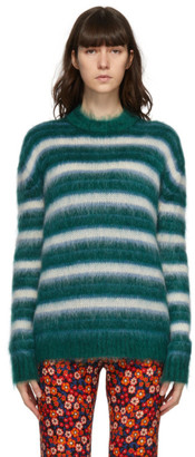 Marni Green and Blue Mohair Striped Sweater