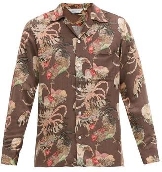 Nipoaloha - Aloha Gamecock Cuban-collar Shirt - Brown Multi
