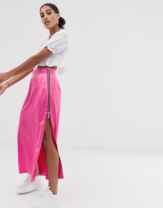 The Ragged Priest satin midi skirt with side zip detail-Pink