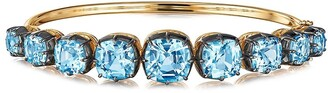 Fred Leighton 18kt yellow gold and oxidised sterling silver Signed graduated blue topaz bangle
