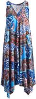 Glam Brown & Blue Abstract Sleeveless Handkerchief Dress