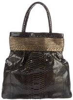 Nancy Gonzalez Metallic-Trimmed Python Tote
