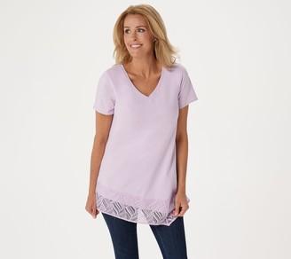 H by Halston Short-Sleeve V-Neck Tunic w/ Asymmetrical Lace Hem