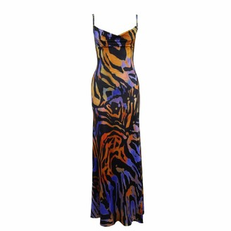 DISSA Women Blue&Yellow Printing Sleeveless Sheath Dress Backless Slip Dress Sexy Bodycon Maxi Dresses Party Cocktail Business D2413 14