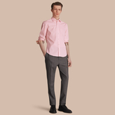 Burberry Check Detail Stretch Cotton Poplin Shirt
