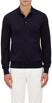 Luciano Barbera Men's Wool-Silk Long-Sleeve Polo Shirt-NAVY