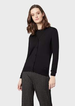 Emporio Armani Plain Knit Pure Virgin Wool Cardigan