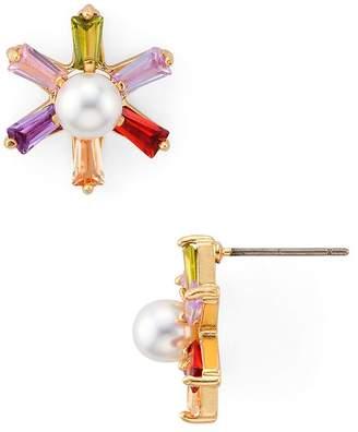 Aqua Multicolor Stone Flower Earrings - 100% Exclusive