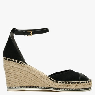 Tory Burch Colour Block 85MM Perfect Black Wedge Espadrille Sandals