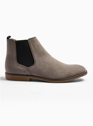 Topman Mens Grey Gray Faux Suede Spark Chelsea Boots