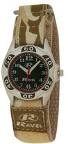 Ravel Boys Beige Army Camouflage Fabric Velcro Strap Watch R1507.08