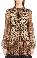 Dolce & Gabbana Women's Leopard Print Stretch Cady Blouse