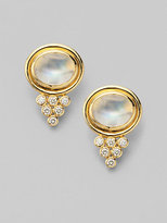 Temple St. Clair Moonstone, Diamond & 18K Yellow Gold Cabochon Pyramid Earrings