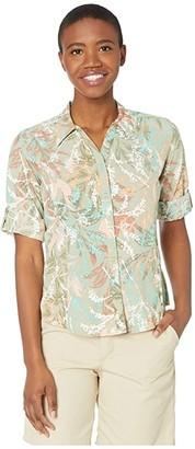 Royal Robbins Expedition Print 3/4 Sleeve Shirt (Grain) Women's Long Sleeve Button Up