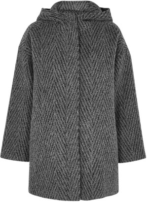 Eileen Fisher Grey Boucle Alpaca And Wool-blend Coat