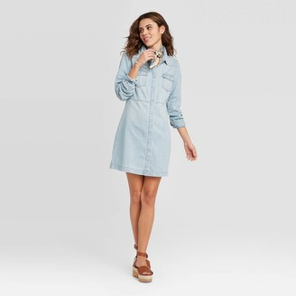 Universal Thread Women's Long Sleeve Western Denim Dress - Universal ThreadTM Light Blue