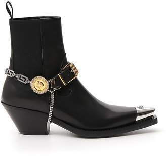 Versace Medusa Buckle Strap Pointed Toe Ankle Boots