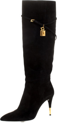 Tom Ford Black Suede Leather Lock Strap Knee Length Boots Size 40