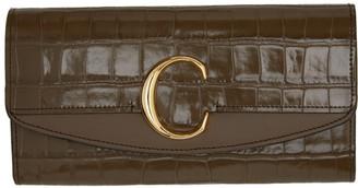Chloé Khaki C Long Wallet