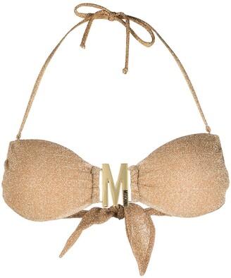 Moschino Metallic Halterneck Bikini Top