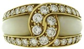 Van Cleef & Arpels 18K Yellow Gold Mother-Of-Pearl Diamond Ring Size 5.5