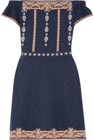 Tory Burch Nell Off-the-shoulder Embroidered Cotton Mini Dress - Navy