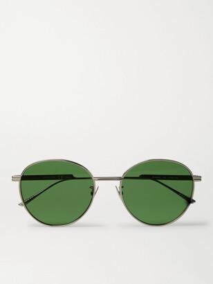 Bottega Veneta Round-Frame Silver-Tone Metal Sunglasses