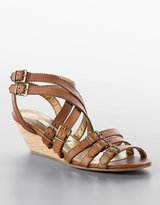 "Twelfth St. By Cynthia Vincent Stina"" Buckled Leather Wedge Gladiator Sandals"