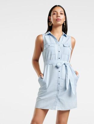 Forever New Ada Sleeveless Denim Shift Dress - Bleach wash - 16