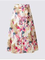 Classic Pure Cotton Floral Print A-Line Midi Skirt