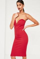 Missguided Red Scuba Plunge Bandeau Midi Dress