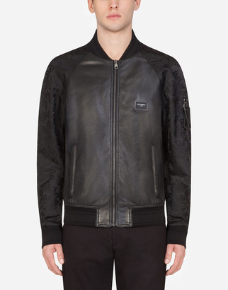 Dolce & Gabbana Leather Jacket With Logoed Plaque