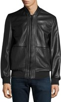 Andrew Marc Edison Faux-Leather Bomber Jacket, Black
