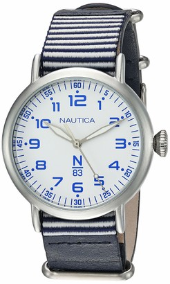 Nautica N83 Men's NAPWLS906 Wakeland Blue/White Stripe Leather Strap Watch