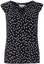 **Billie & Blossom Navy Spot TRim Shell Top