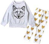 YOUJIA Unisex Baby Fox Printed Long Sleeve Shirts Pants 2pcs Clothing Set 70