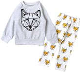 YOUJIA Unisex Baby Fox Printed Long Sleeve Shirts Pants 2pcs Clothing Set 80