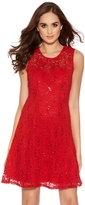 Quiz Red Sequin Lace Skater Dress