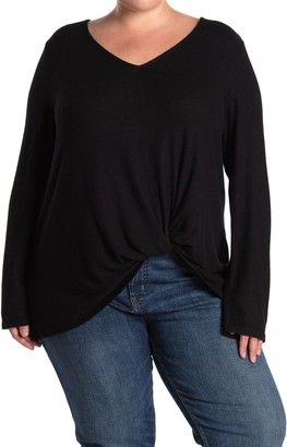 Gibson V-Neck Long Sleeve Twist Top (Plus Size)