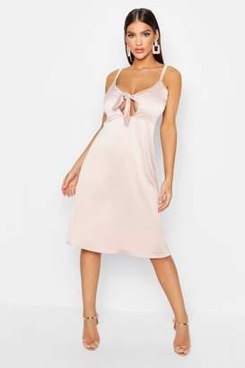 boohoo Satin Tie Front Cami Midi Dress