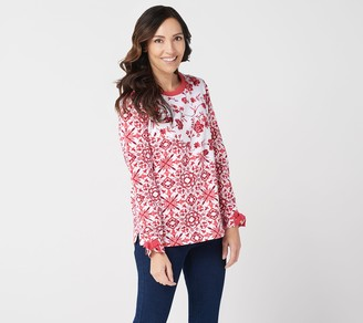 Susan Graver Weekend Printed French Terry Top with Rib Trim
